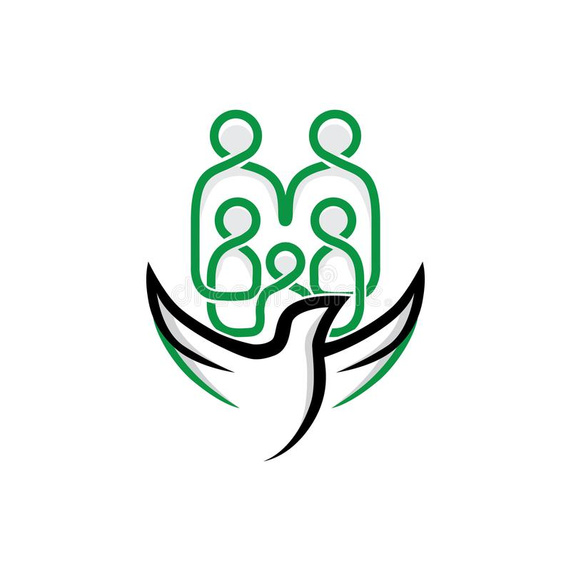 Logotipo de la comunidad de Eagle y de la familia stock de ilustración