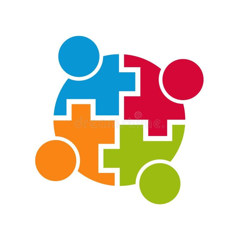 Logotipo de la conexión de la comunidad del trabajo en equipo stock de ilustración