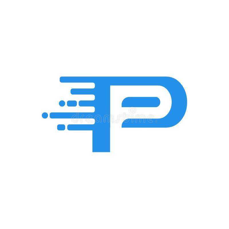 Logotipo de la conexión a internet de los datos de paquete rápido de la letra P stock de ilustración