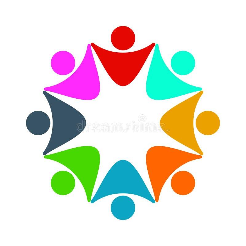 Logotipo de la conexión de la unidad de negocio del concepto, ocho personas en el círculo, haciendo frente a trabajo en equipo libre illustration