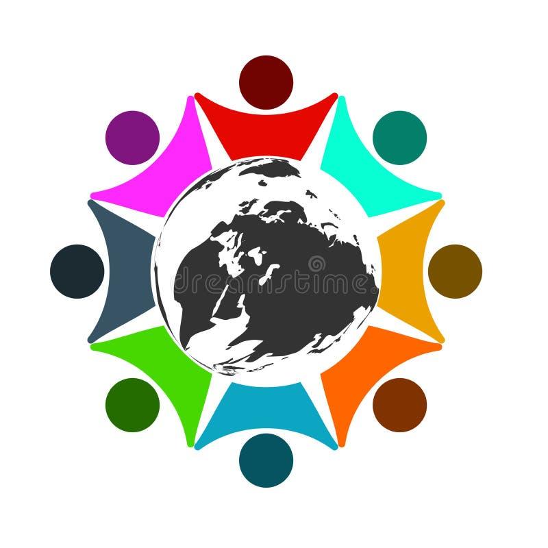 Logotipo de la conexión de la unidad de negocio del concepto, ocho personas en el mundo del círculo, haciendo frente a trabajo en libre illustration