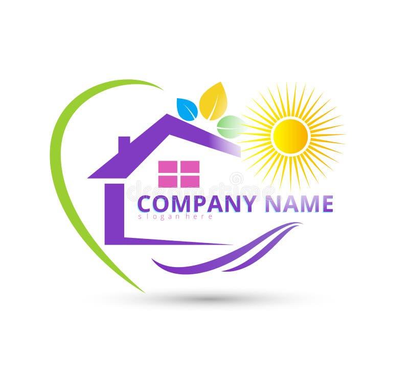 Logotipo de la confianza de la esperanza del amor del hogar del cuidado de la naturaleza stock de ilustración