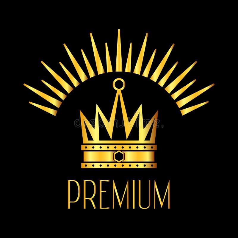 Logotipo de la corona de Premiun que brilla intensamente en negro del oro stock de ilustración