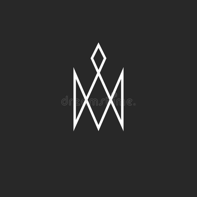 Logotipo de la corona del monograma, símbolo lindo real de la princesa, línea fina emblema del inconformista de la tarjeta de vis libre illustration