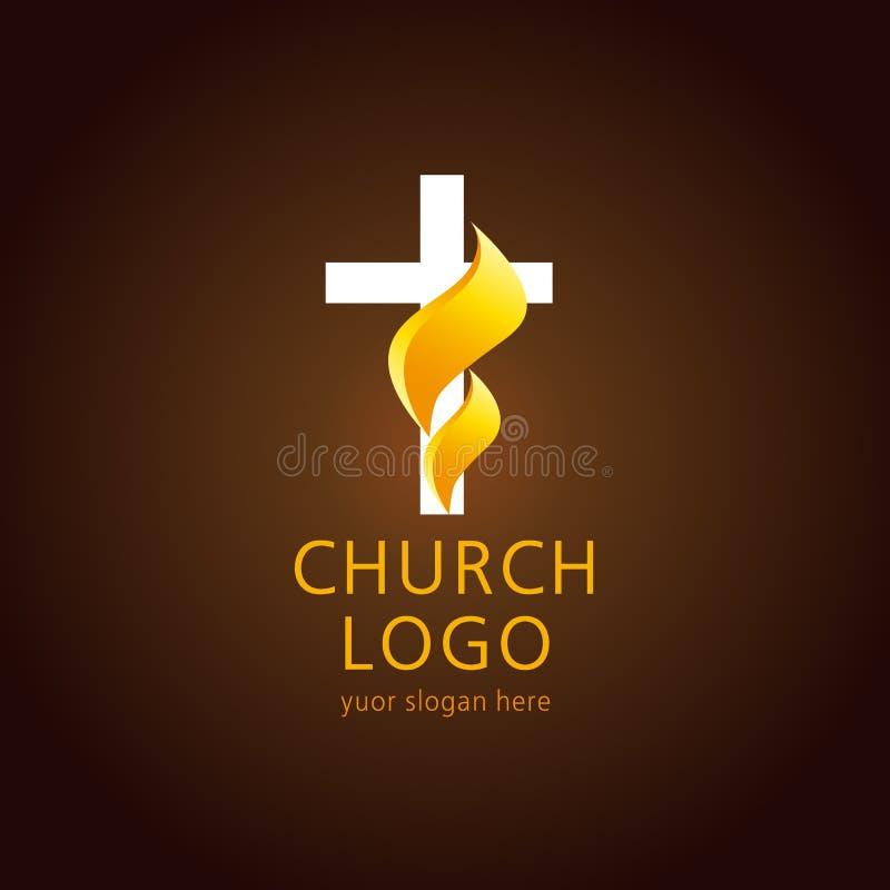 Logotipo de la cruz de la llama de la iglesia stock de ilustración