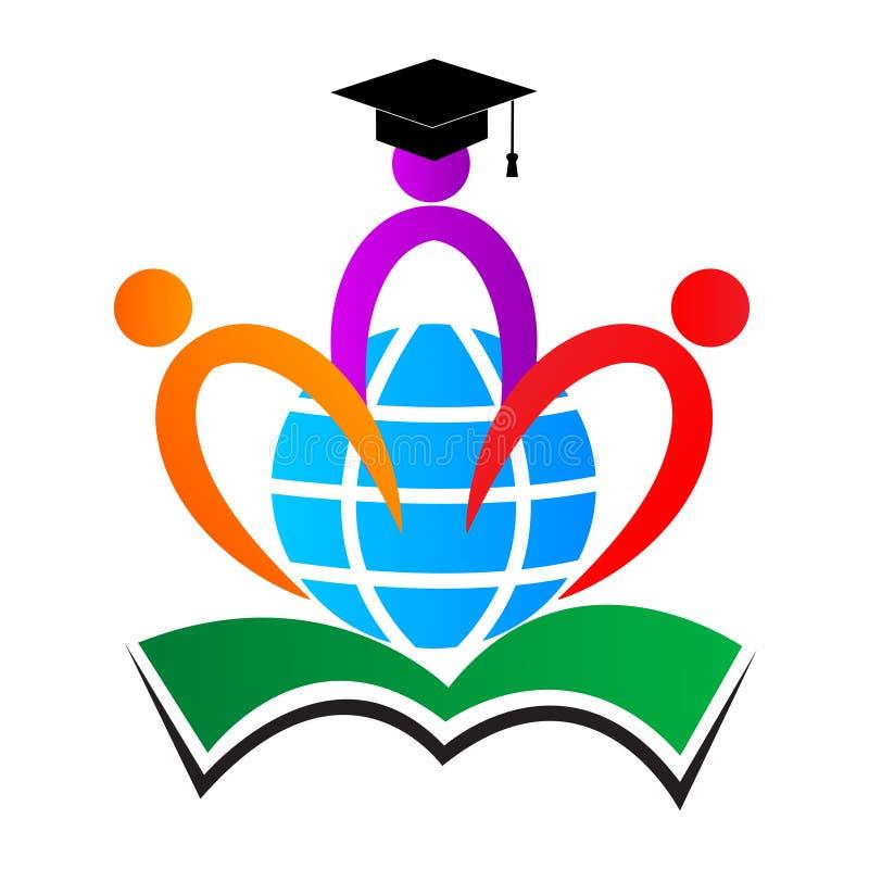 Logotipo de la educación del mundo ilustración del vector