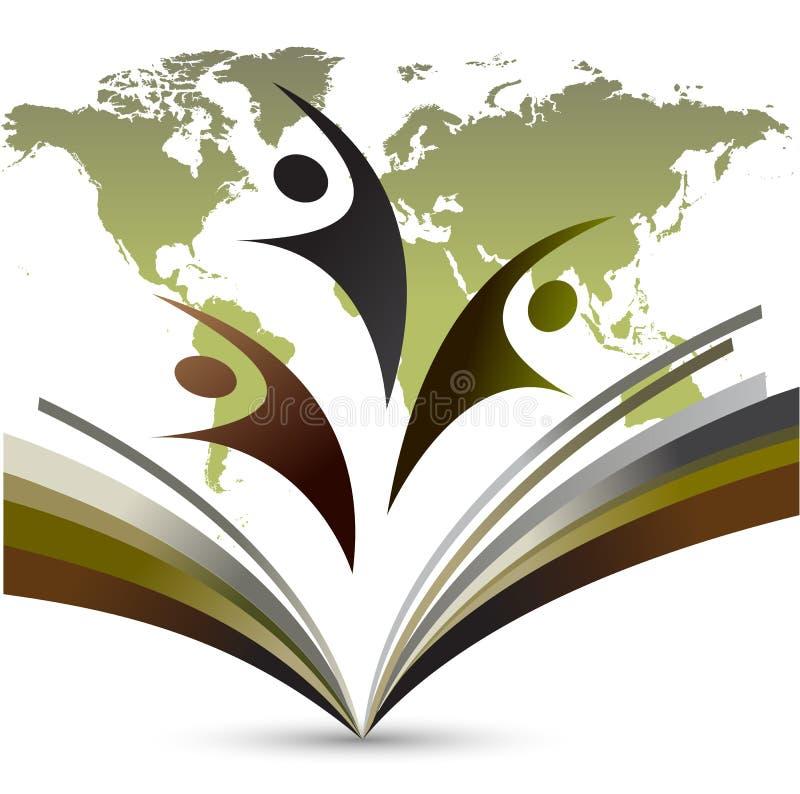 Logotipo de la educación del mundo en la tierra trasera blanca stock de ilustración