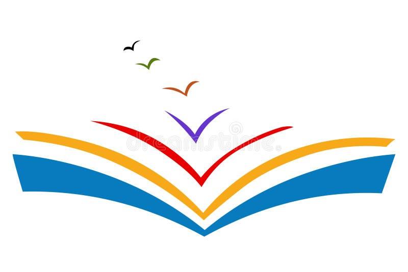 Logotipo de la educación Vector del icono del libro Concepto de la libertad de la educación stock de ilustración