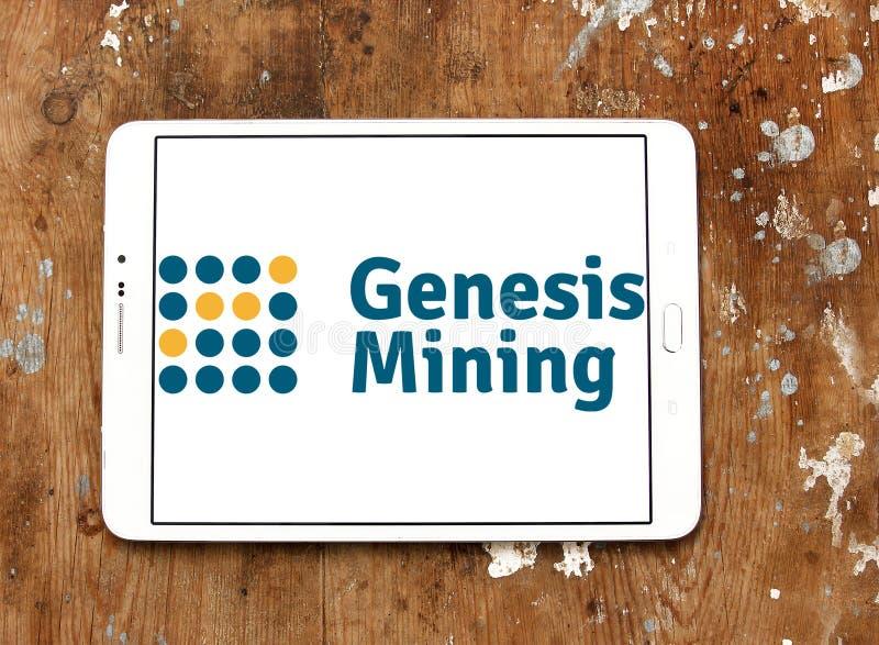 Logotipo de la empresa minera de la nube de Genesis Mining imagenes de archivo