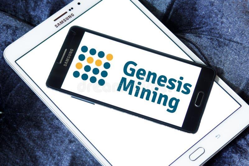 Logotipo de la empresa minera de la nube de Genesis Mining fotografía de archivo