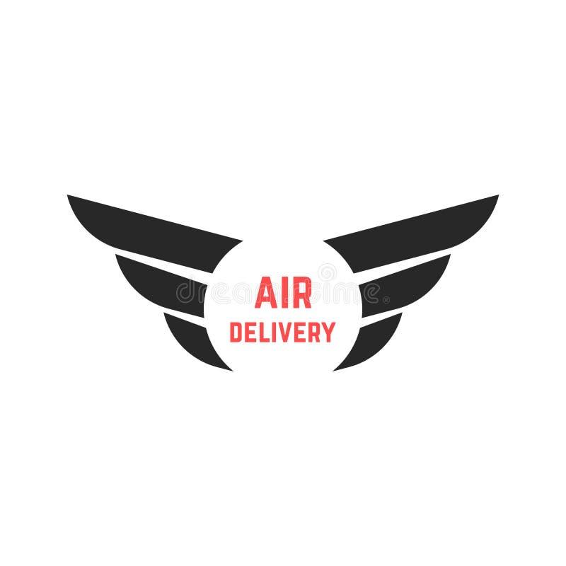 Logotipo de la entrega aérea con las alas negras libre illustration