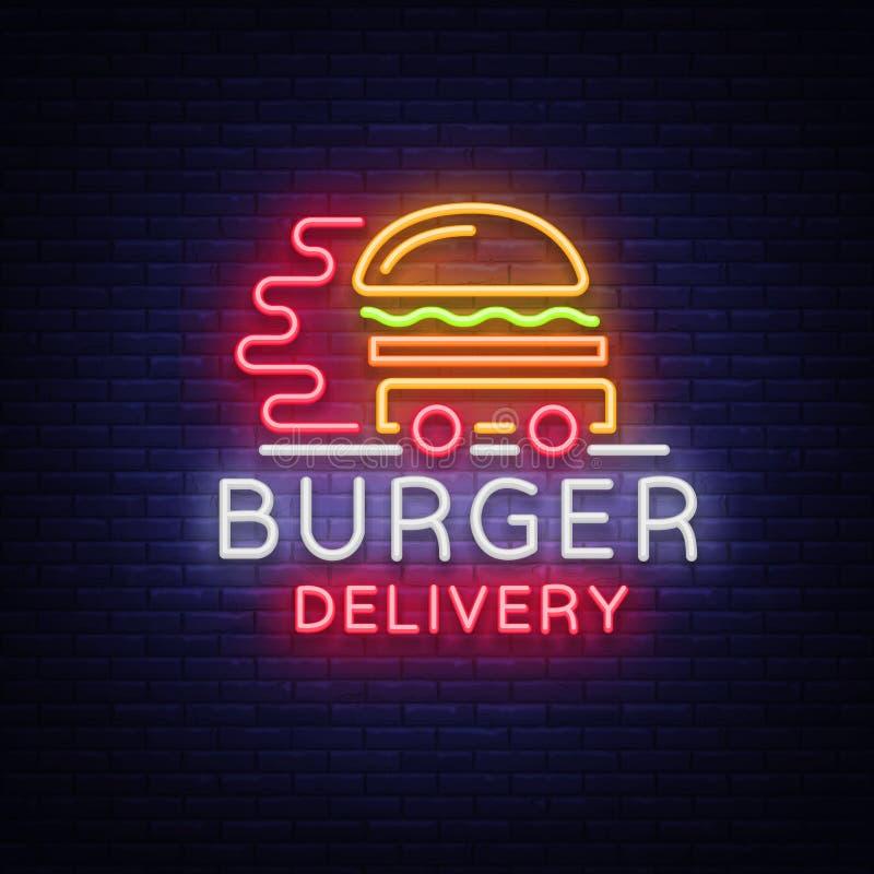 Logotipo de la entrega de la hamburguesa en el estilo de neón Señal de neón, bandera ligera, plantilla del diseño, entrega de neó ilustración del vector