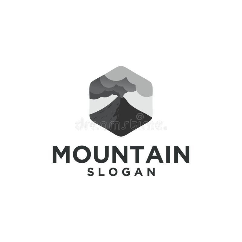 Logotipo de la erupción de la montaña con la nube stock de ilustración