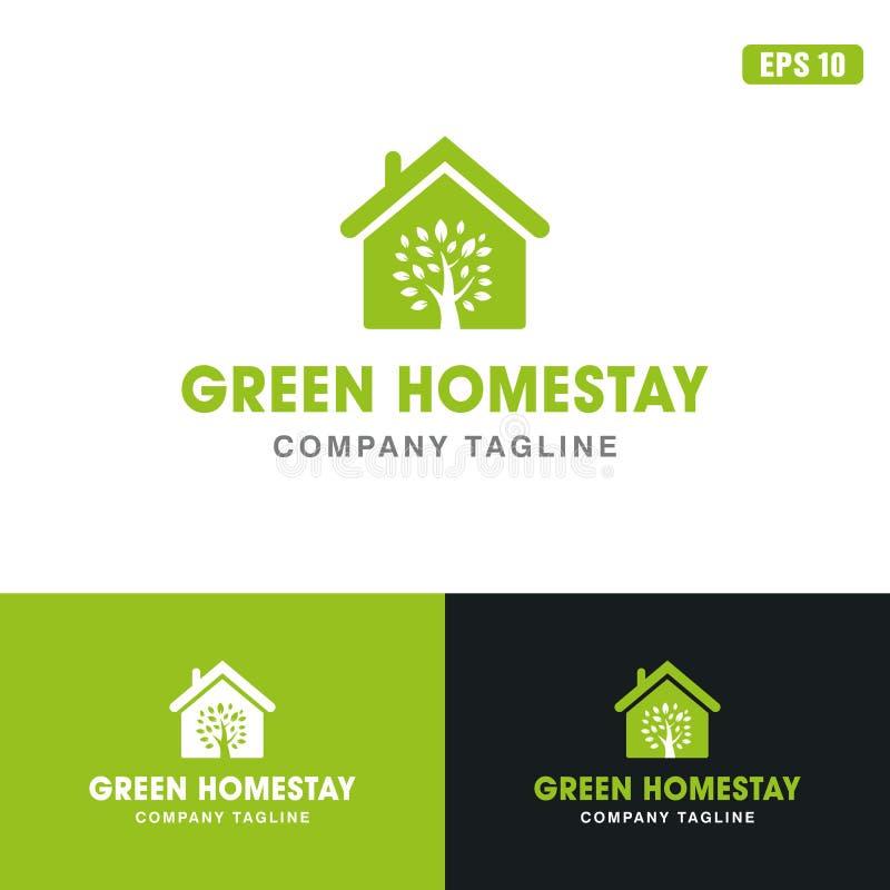 Logotipo de la estancia/negocio caseros verdes Logo Idea del diseño del vector del icono imagen de archivo