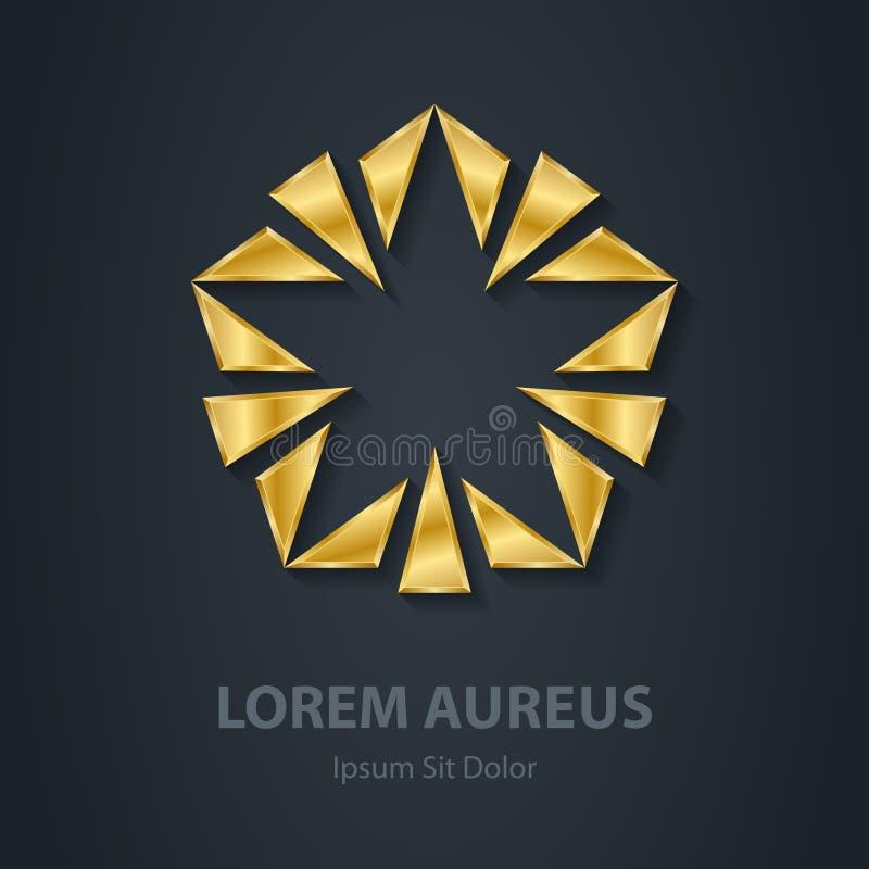 Logotipo de la estrella del oro Icono del premio 3d Plantilla de oro del logotipo libre illustration
