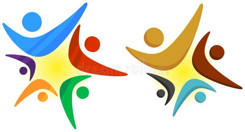 Logotipo de la estrella del trabajo en equipo ilustración del vector