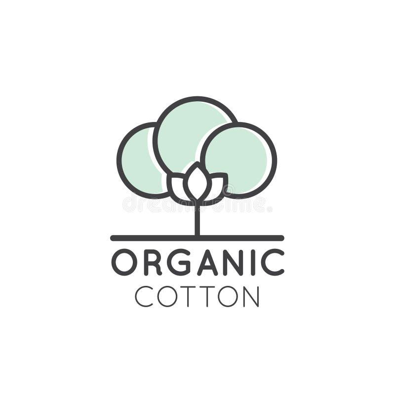 Logotipo de la etiqueta orgánica del algodón, paño de la tela del producto de ECO ilustración del vector