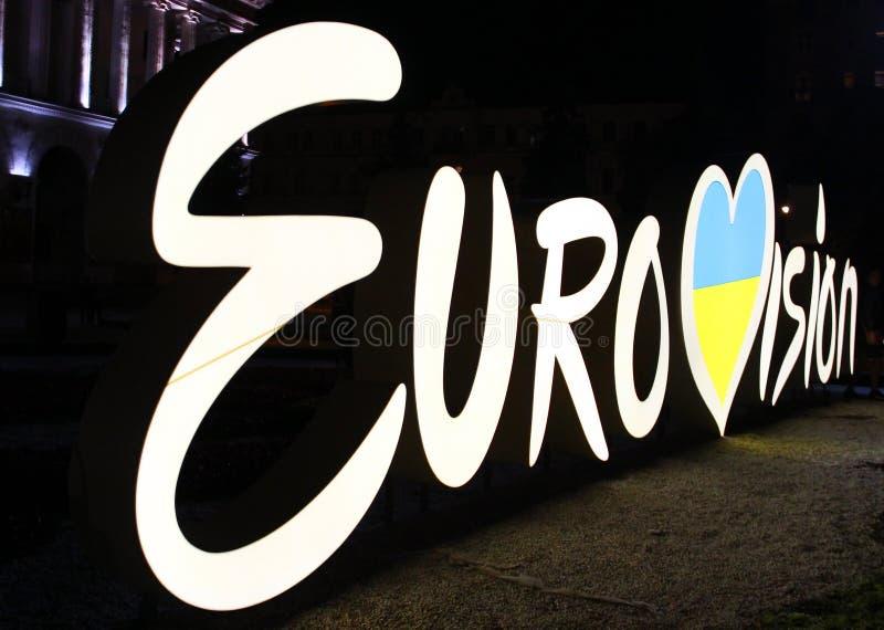 Logotipo de la Eurovisión en el centro de Kyiv, Ucrania fotos de archivo libres de regalías