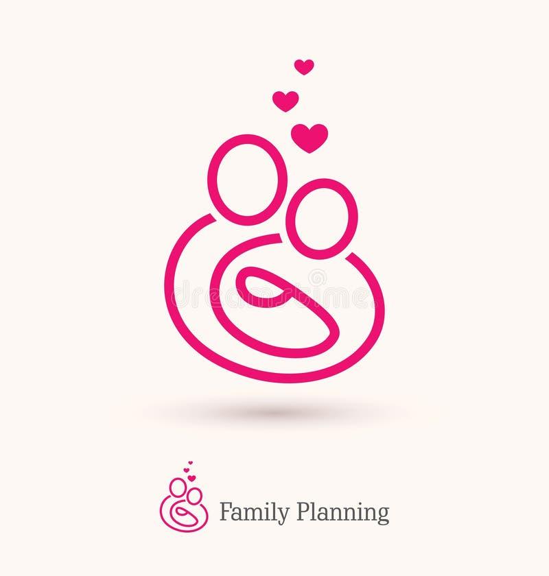 Logotipo de la familia feliz con un bebé stock de ilustración