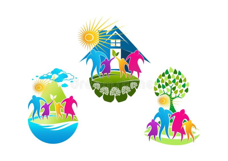 Logotipo de la familia, símbolo de los cuidados en casa, icono de la gente de la salud y diseño de concepto sano de familia stock de ilustración