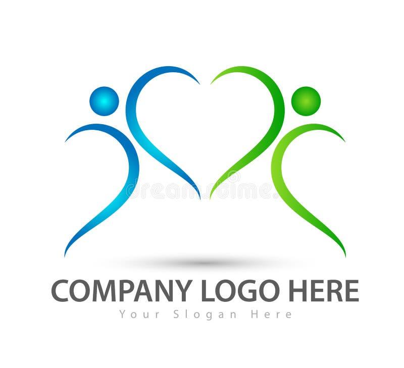Logotipo de la familia, símbolo que ejercita, forma del corazón, vector del parenting del concepto del amor del icono ilustración del vector