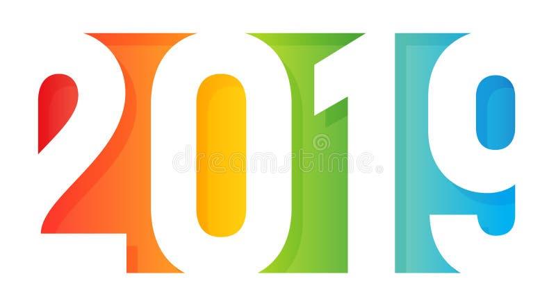 Logotipo de la Feliz Año Nuevo 2019 Estilo de papel del diseño del uso Cubierta coloreada arco iris de la tarjeta de felicitación stock de ilustración