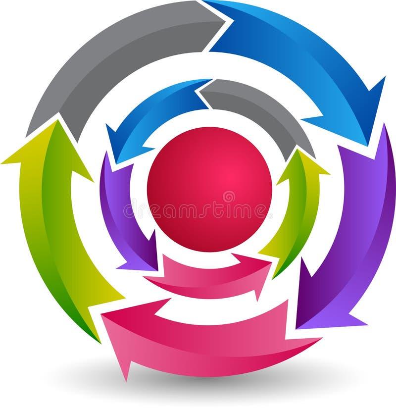 Logotipo de la flecha del círculo stock de ilustración