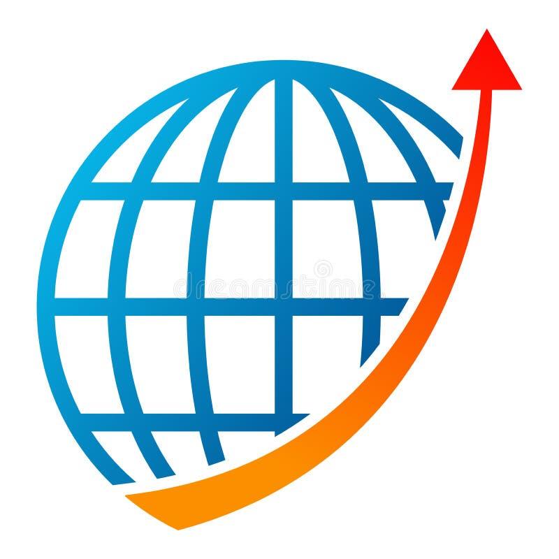 Logotipo de la flecha del gráfico del globo en blanco stock de ilustración