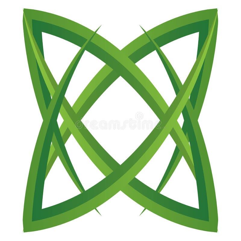 Logotipo de la flor de la estrella de las hojas del verde ilustración del vector