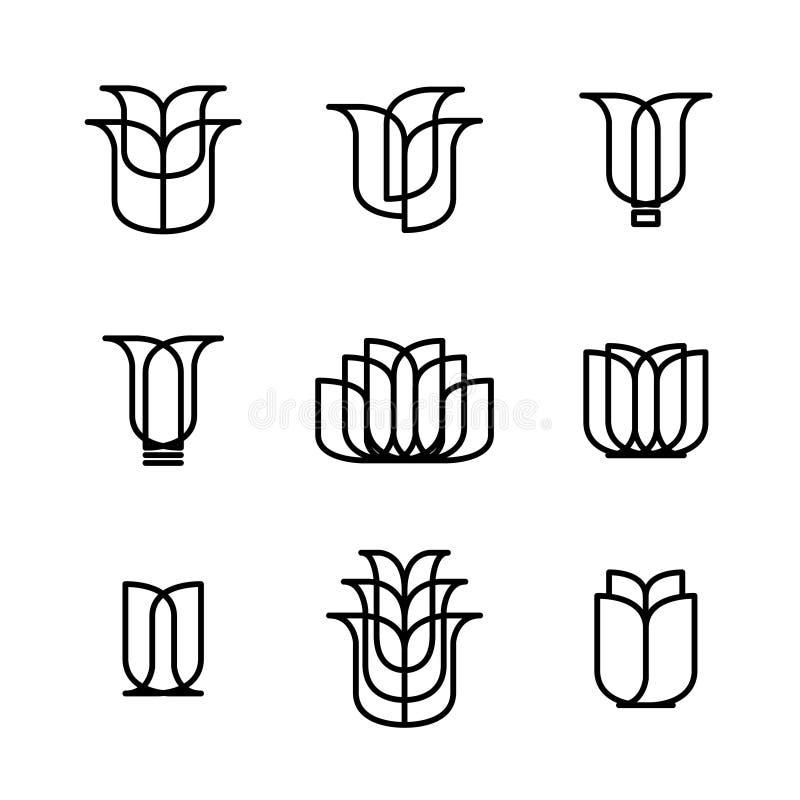 Logotipo de la flor - ejemplo En blanco ilustración del vector