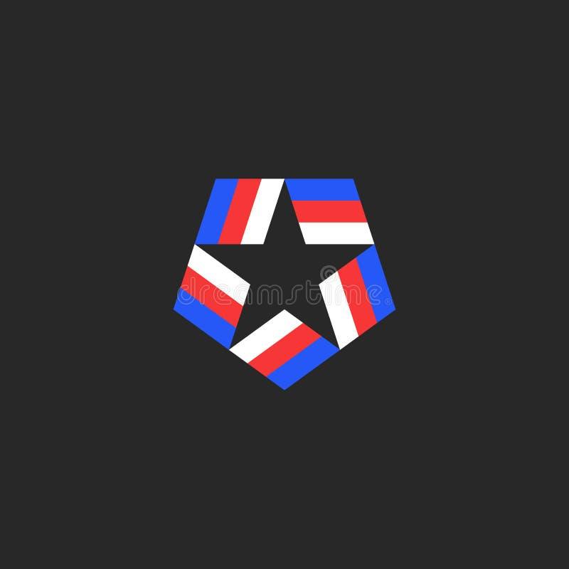 Logotipo de la forma de la estrella de las cintas tricoloras americanas azul-rojo-blancas inscritas en el pentágono, el símbolo n stock de ilustración