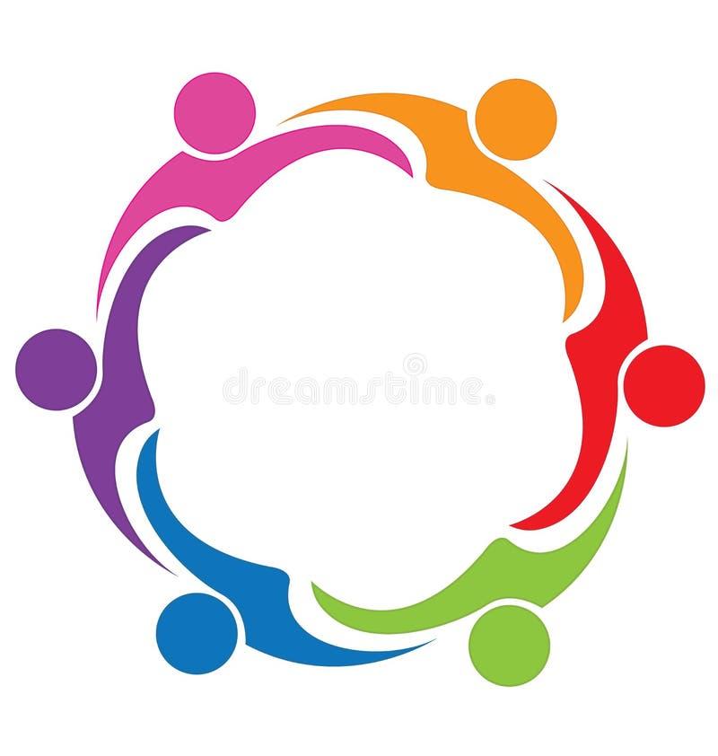 Logotipo de la gente de la amistad del abrazo del trabajo en equipo stock de ilustración