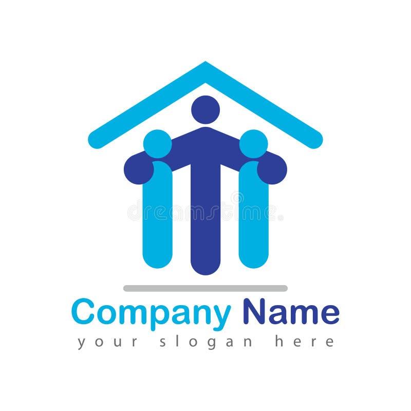 Logotipo de la gente del hogar de las propiedades inmobiliarias ilustración del vector
