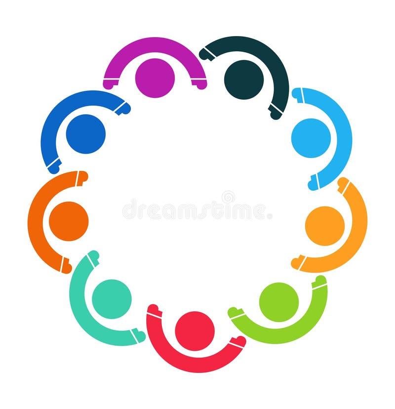 Logotipo de la gente Símbolo del trabajo en equipo del grupo de nueve personas ilustración del vector