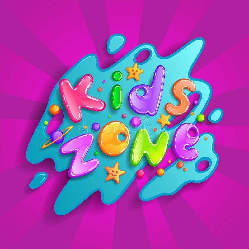 Logotipo de la historieta del vector de la zona de los niños Letras coloridas de la burbuja para la decoración de la sala de jueg ilustración del vector