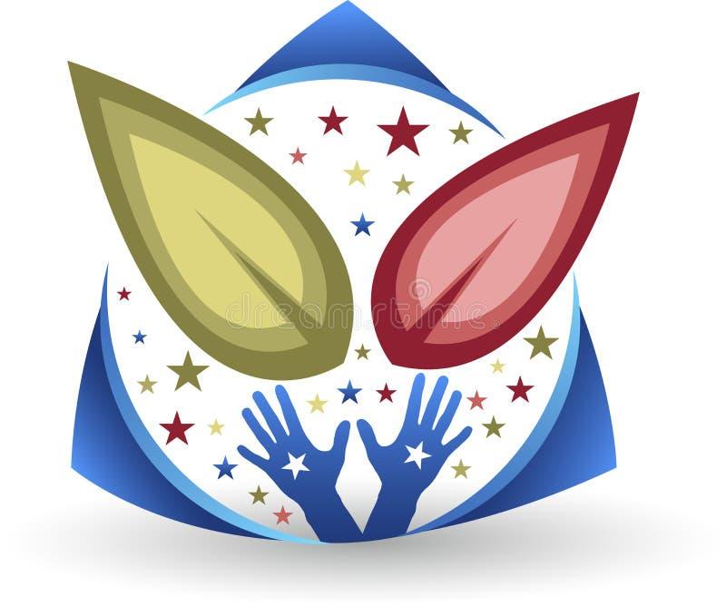 Logotipo de la hoja de la mano stock de ilustración
