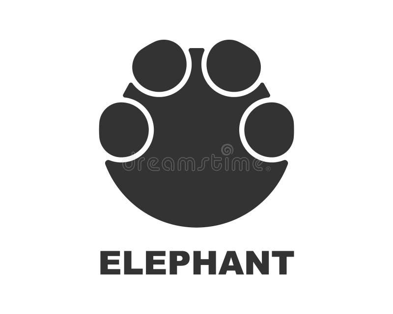 Logotipo de la huella del elefante, impresión de la pata ilustración del vector