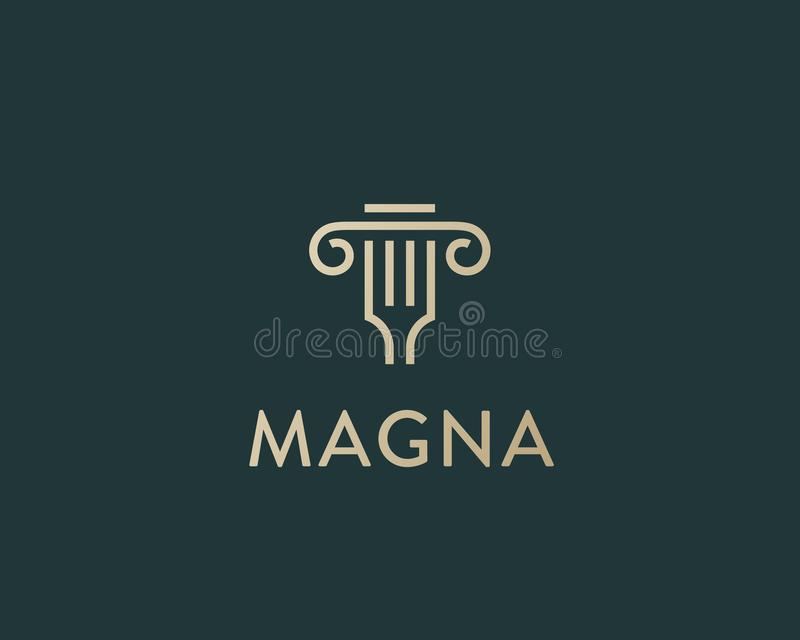 Logotipo de la idea de la bifurcación de la columna Diseño italiano del logotipo del vector del restaurante clásico Línea creativ libre illustration