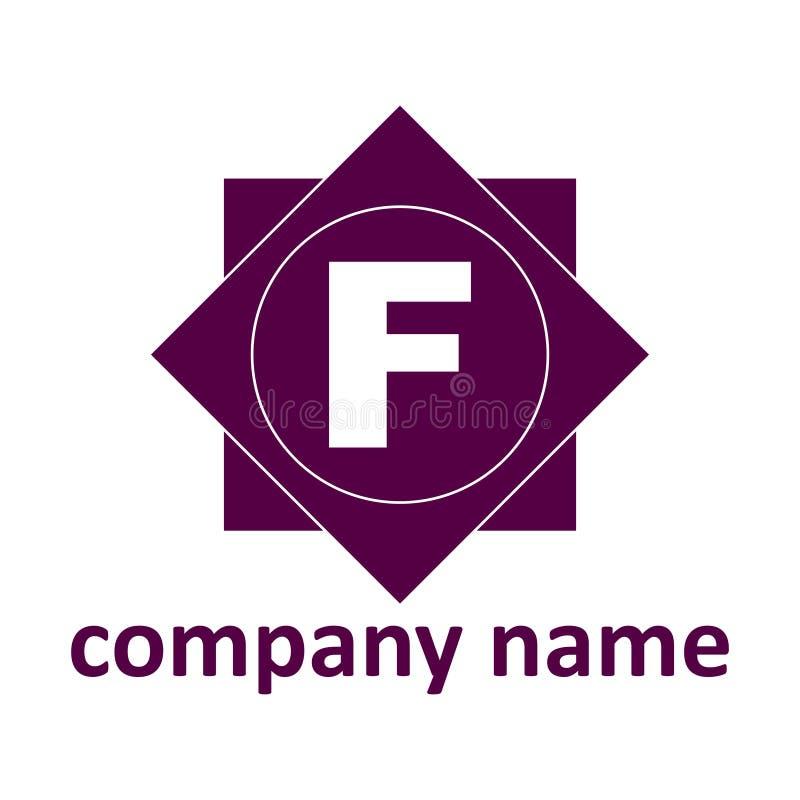 Logotipo de la identificación La letra F se pone contra la perspectiva de formas geométricas del color púrpura Una plantilla para foto de archivo