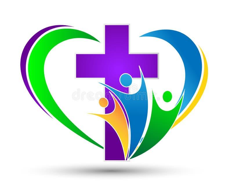 Logotipo de la iglesia con la familia con el amor en forma de corazón libre illustration