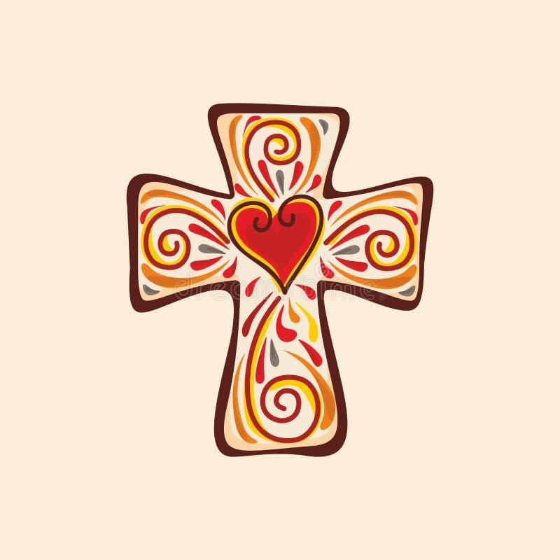 Logotipo de la iglesia cristiana Cruz del Jesucristo ilustración del vector