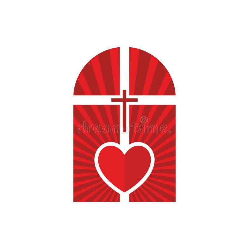 Logotipo de la iglesia cristiana La cruz de Jesús en el centro del altar y del corazón libre illustration