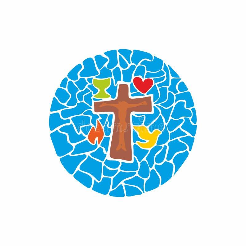 Logotipo de la iglesia cristiana Cruz de Jesús y de símbolos dibujada por las manos ilustración del vector