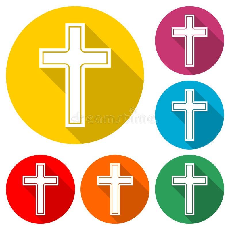 Logotipo de la iglesia cristiana, icono cruzado, sistema de color con la sombra larga libre illustration