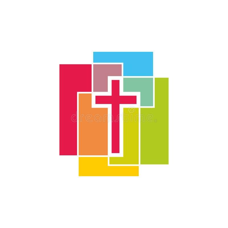 Logotipo de la iglesia Cruz de bloques coloreados stock de ilustración
