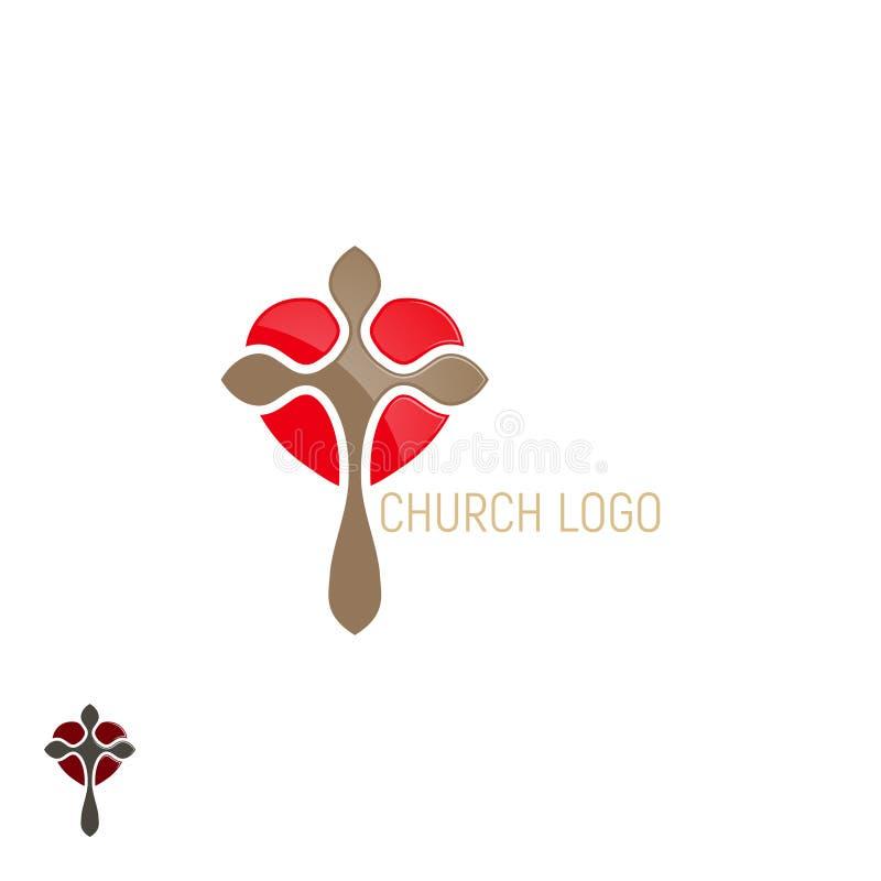 Logotipo de la iglesia Cruz con el corazón libre illustration