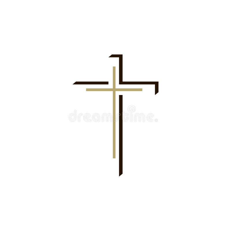 Logotipo de la iglesia Cruz cristiana ilustración del vector