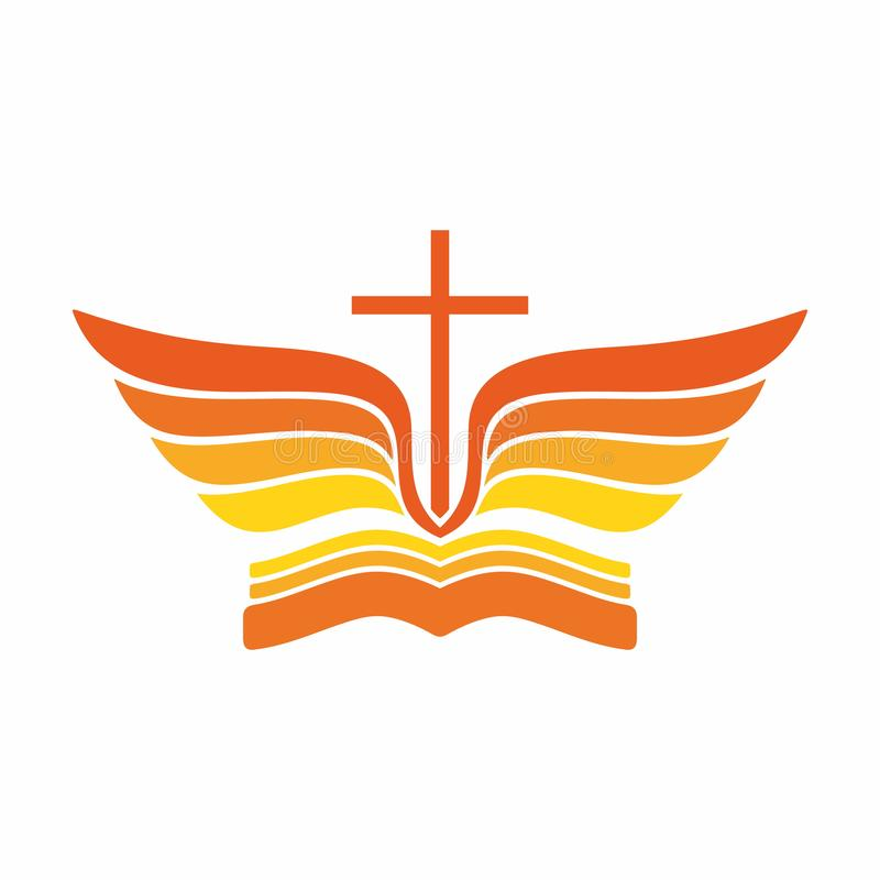 Logotipo de la iglesia Cruz del ` de la biblia, de Jesús y alas del ángel stock de ilustración