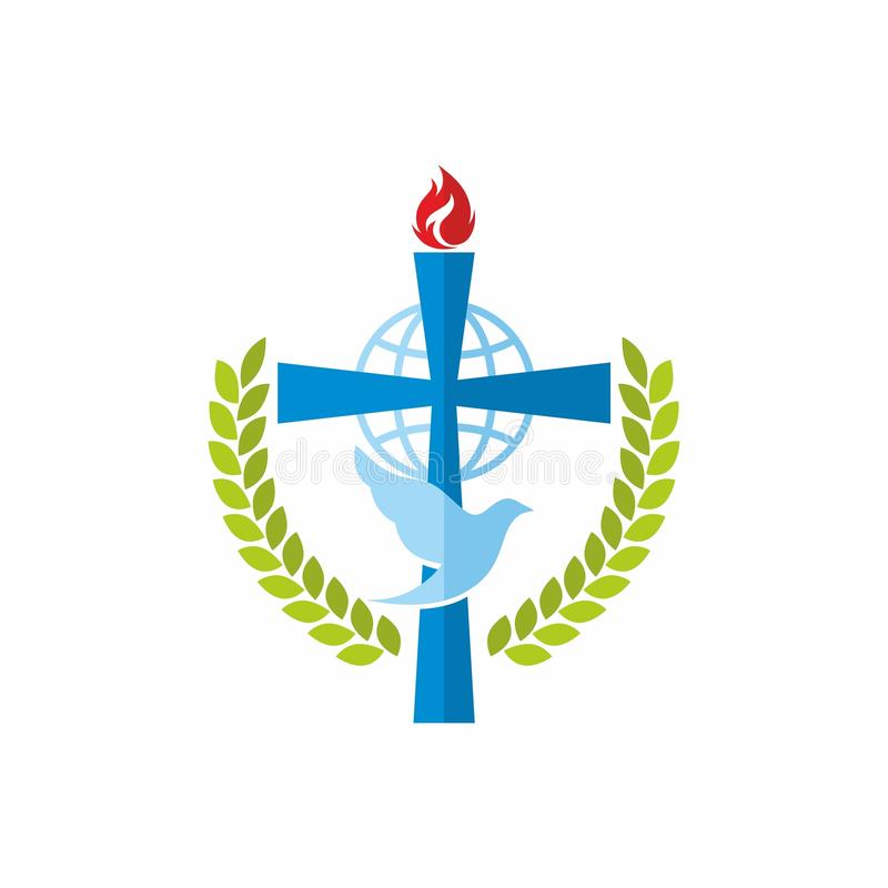 Logotipo de la iglesia La cruz de Jesús, del globo y de la paloma libre illustration