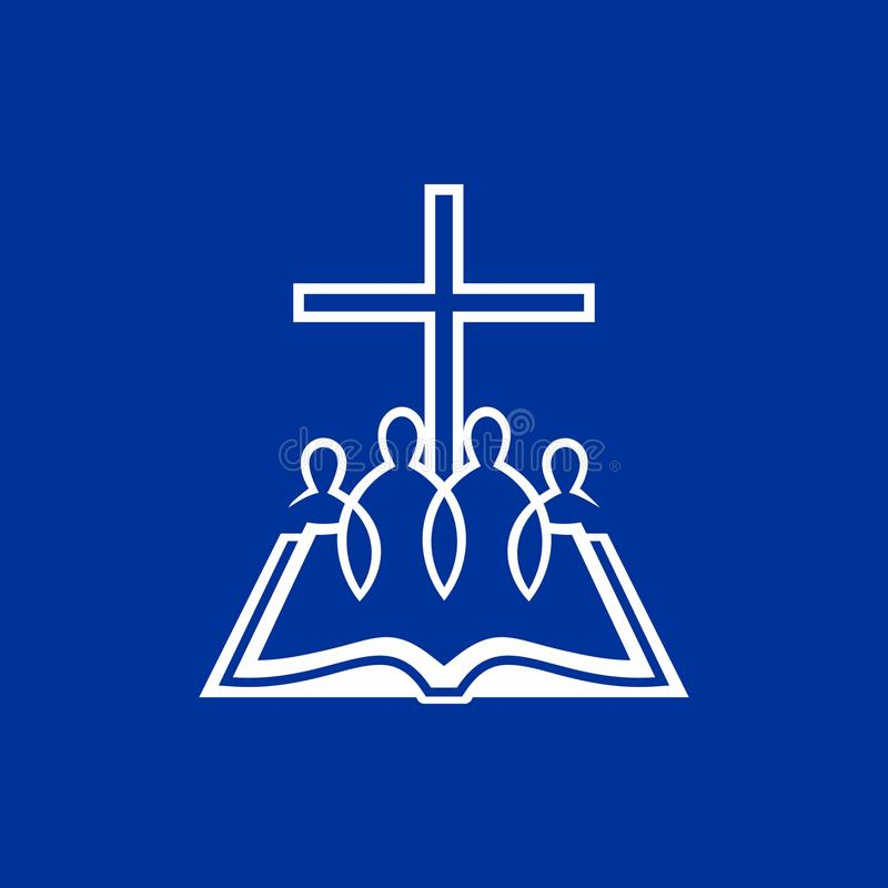 Logotipo de la iglesia La cruz de Jesús, una biblia abierta y gente que creen en dios libre illustration